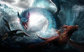 Картинка море, волны, дракон, погоня