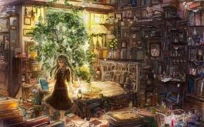 Обои лампы, книги, растения, девочка, травы, зелья, экстракты, зертезебиль, So much gallimaufry, рецепты