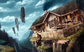 Обои летающие, мужик, арт, рюкзак, удочка, дом, машина, скалы