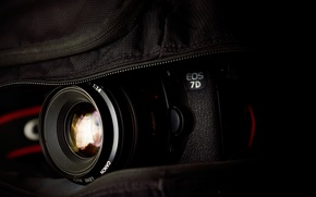 Обои macro, Объектив, canon eos 7d, Photocamera, bag, lens, Фотоаппарат, сумка, 2560x1600