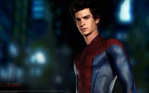 Картинка костюм, парень, актёр, The Amazing Spider-Man, Andrew Garfield, Новый Человек-паук, Эндрю Гарфилд