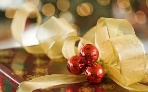 Обои ленты, праздник, игрушки, Новый Год, подарки, Happy New Year, ёлочные украшения, Xmas, holiday, decorations, Christmas ...
