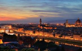 Картинка закат, мост, город, вид, дома, вечер, Италия, Флоренция, достопримечательность, санта мария дель фьоре