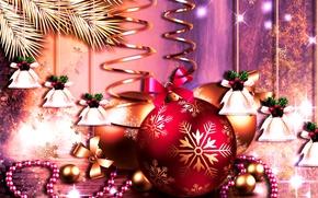 Картинка шарики, узор, новый год, рождество, вектор