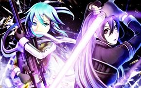 Картинка девушка, аниме, арт, Мастера меча онлайн, Sword Art Online, Кирито
