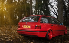 Картинка BMW, red, wagon, E36