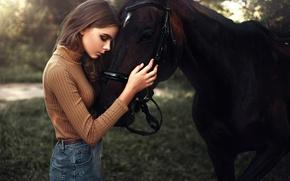 Картинка девушка, модель, лошадь, портрет, прикосновение, light, шатенка, nature, sunset, чувство, боке, outdoor, Maks Kuzin, Лиана …