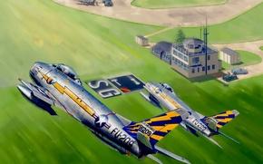 Картинка war, art, painting, aviation, jet fighter, North American F-86 Sabre