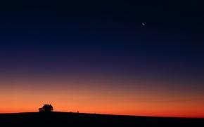 Картинка закат, Луна, Венера