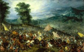 Картинка картина, Ян Брейгель старший, батальный жанр, Битва при Иссе