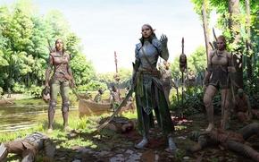 Картинка река, смерть, оружие, победа, эльф, Девушка, воин, доспех