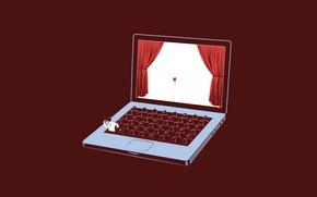 Обои pro, angry, apple, сцена, notebook, Laptop, помидор, ноутбук, screen, scene, spectator, Studio Kronk, theatre, театр, ...