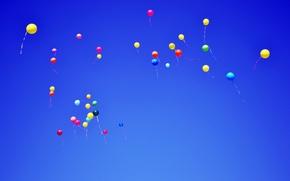 Картинка Небо, Цветные, Шарики, Полёт, Sky, Balls, Colored, Flying