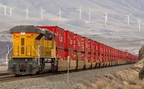 Картинка природа, рельсы, поезд, вагоны, железная дорога, локомотив