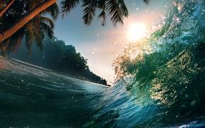 Картинка море, волны, вода, пейзаж, природа, пальмы, океан, всплеск, waves, sea, landscape, nature, water, splash, palm …