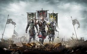 Картинка доспехи, самурай, флаги, рыцарь, Ubisoft, викинг, For Honor