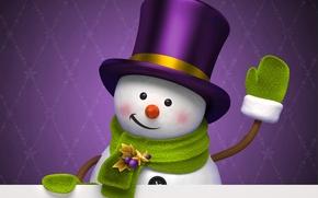 Картинка зима, фиолетовый, праздник, графика, новый год, рождество, шляпа, снеговик, christmas, new year, цилиндр