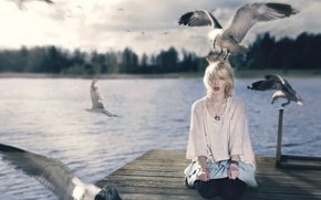 Обои стиль, птицы, девушка, ситуация