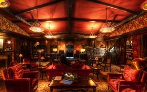 Картинка музыка, комната, диван, кресло, hdr, пульт, люстра, ноутбук, камин, студия