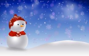Картинка снег, праздник, новый год, снеговик, декорации, happy new year, snowman, christmas decoration, новогодние обои, christmas …