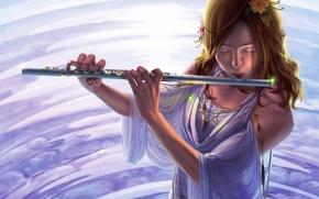 Картинка вода, девушка, украшения, цветы, платье, арт, музыкальный инструмент, reishin