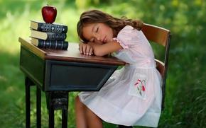 Картинка девочка, яблоко, книги, сон