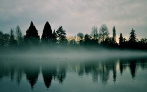 Обои небо, деревья, природа, туман, река, рассвет, дымка, раннее утро