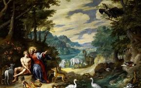 Картинка картина, мифология, Ян Брейгель младший, В Эдемском Саду