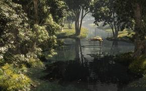 Картинка лес, купальник, вода, девушка, деревья, круги, рука, арт, солнечно