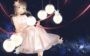 Обои vocaloid china, vocaloid, арт, weitu, ленты, аниме, девушка, звезды, yuezheng ling, фонарики