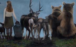 Картинка картина, норвежский художник, Christer Karlstad, Spectators