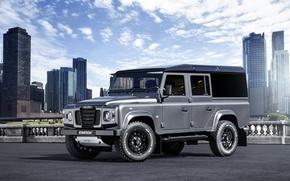 Картинка авто, Город, небоскрёбы, Land Rover Defender