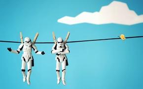 Обои макро, персонажи, войны, ситуация, игрушки, бельевая, Прищепки, фигурки, верёвка, лего, звездные
