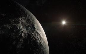 Картинка космос, тьма, планета, звёзды