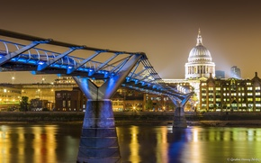 Обои мост, дома, Лондон, огни, Великобритания, ночь, набережная, река