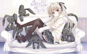 Картинка надписи, диван, игрушки, кролик, арт, девочка, kasugano sora, yosuga no sora, ohara tometa