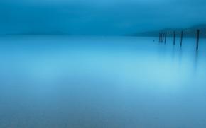 Картинка пейзаж, природа, туман, озеро, минимализм