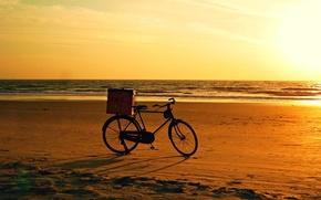 Картинка bicycle, beach, bike, sunset