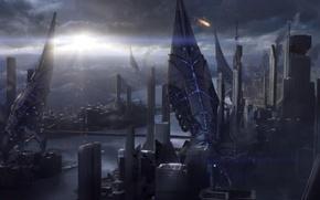 Картинка солнце, город, земля, война, Mass Effect, жнецы