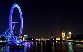 Картинка обои, город, огни, столица, колесо обозрения, англия, ночь, здания, england, река, thames, чертово колесо, great ...