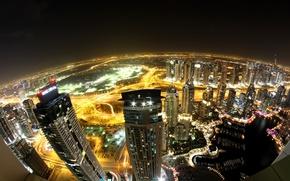 Картинка ночь, город, огни, вид, здания, дороги, дома, небоскребы, освещение, панорама, Дубай, Dubai, высотки, ОАЭ, высотные