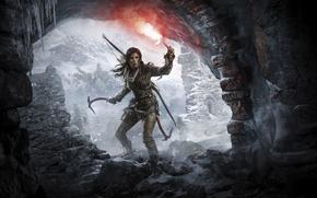 Картинка Девушка, Горы, Снег, Лук, Лара Крофт, Арт, Lara Croft, Факел, Rise of the: Tomb Raider, …
