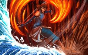 Картинка вода, огонь, земля, воздух, art, Korra, The Legend of Korra, Аватар: Легенда о Корре