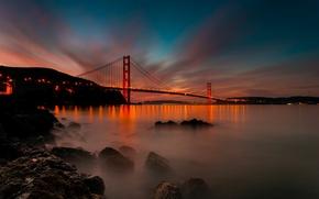 Картинка свет, закат, мост, город, пролив, камни, вечер, Калифорния, Сан-Франциско, Золотые Ворота, USA, США, Golden Gate …