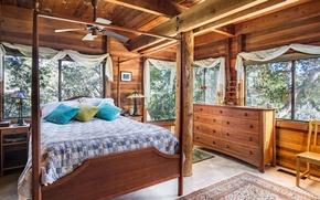 Картинка дизайн, дерево, кровать, подушки, спальня, комод