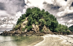 Картинка песок, море, небо, облака, деревья, скала, тропики, камни, побережье, Таиланд