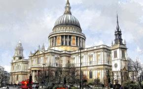Обои город, Лондон, Англия, Собор Святого Павла, краски, рисунок