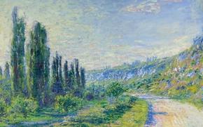 Обои пейзаж, картина, Клод Моне, Дорога из Ветей
