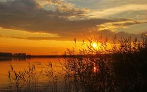 Картинка небо, солнце, пейзаж, закат, природа, река, фото, рассвет