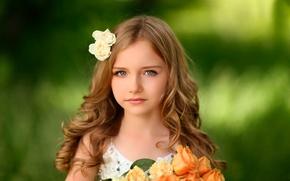 Обои цветы, портрет, девочка, Alex